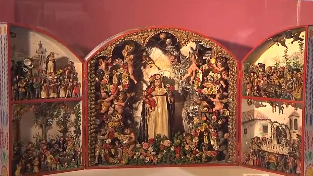 Retablo de Santa Rosa en el Museo de Artes y Tradiciones Populares del Instituto Riva Agüero