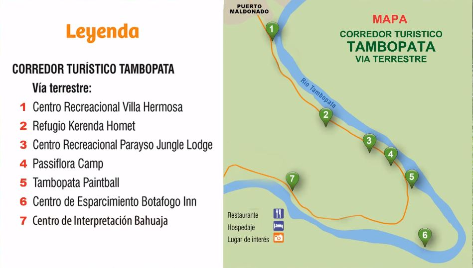 Mapa del corredor turístico de Tambopata