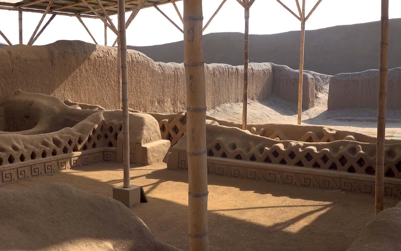 Muros en el sitio Arqueológico de Chan Chan de La libertad